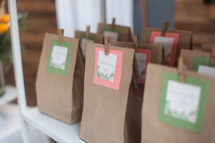 Brown Paper Favor Sacks with Custom Cactus Labels from a Cactus Themed Dol 1st Birthday Party on Kara's Party Ideas | KarasPartyIdeas.com (17)
