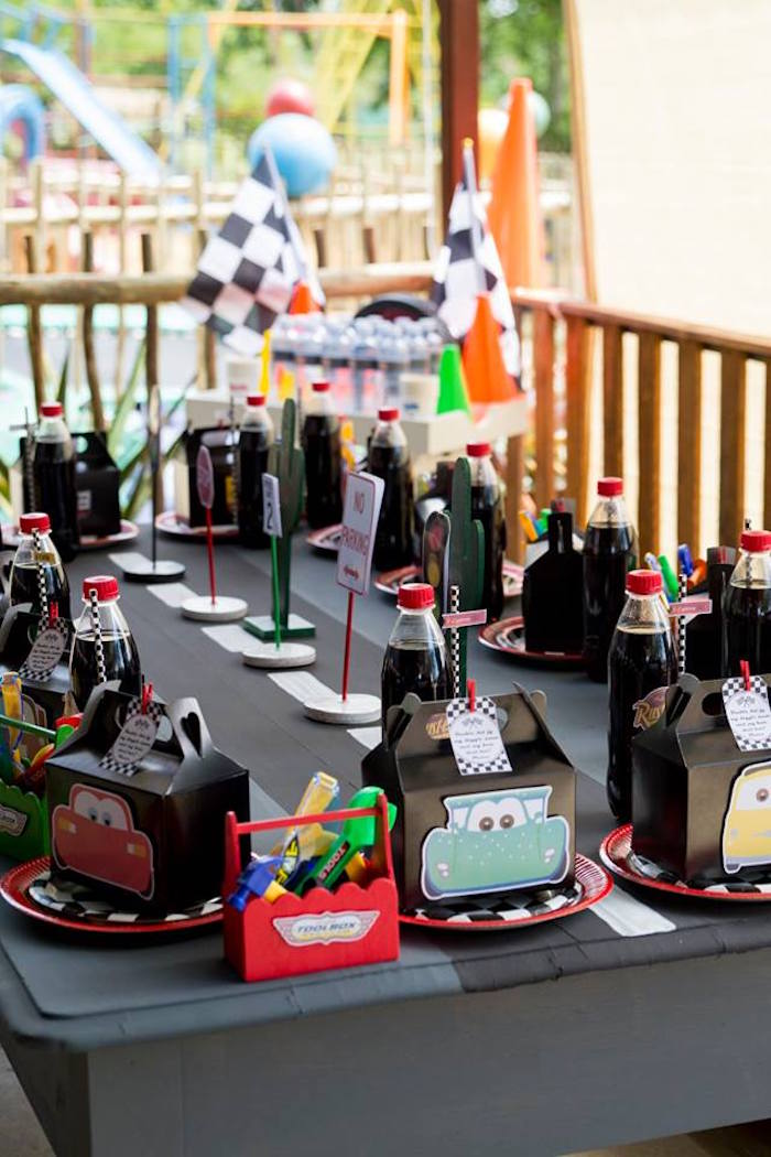 Cars Themed Kid Table from a Cars Birthday Party on Kara's Party Ideas | KarasPartyIdeas.com (22)