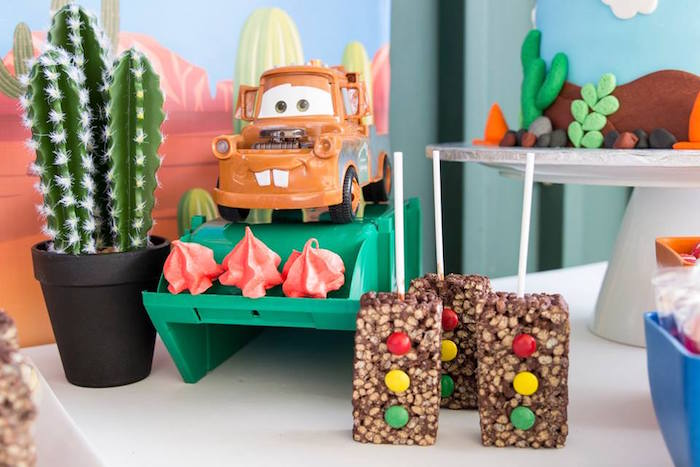 Mater's Meringues and Stop Light Crispy Treats from a Cars Birthday Party on Kara's Party Ideas | KarasPartyIdeas.com (18)