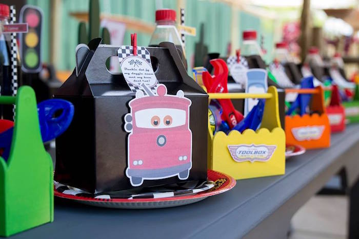 Cars Themed Gable Lunchbox Table Setting from a Cars Birthday Party on Kara's Party Ideas | KarasPartyIdeas.com (13)