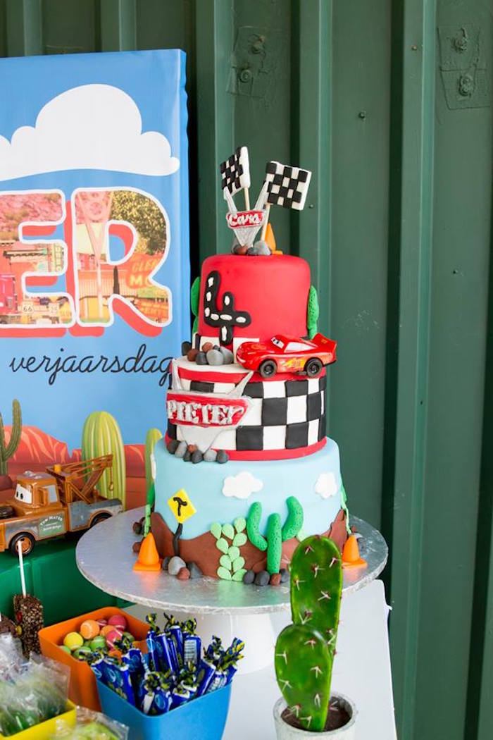 Cars Themed Birthday Cake from a Cars Birthday Party on Kara's Party Ideas | KarasPartyIdeas.com (9)