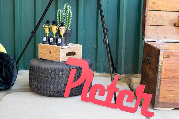 Tire + Name Letter Sign from a Cars Birthday Party on Kara's Party Ideas | KarasPartyIdeas.com (6)