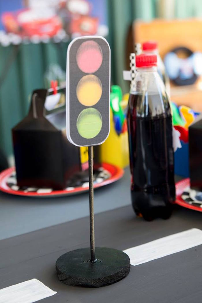 Stop Light Prop + Table Centerpiece from a Cars Birthday Party on Kara's Party Ideas | KarasPartyIdeas.com (30)