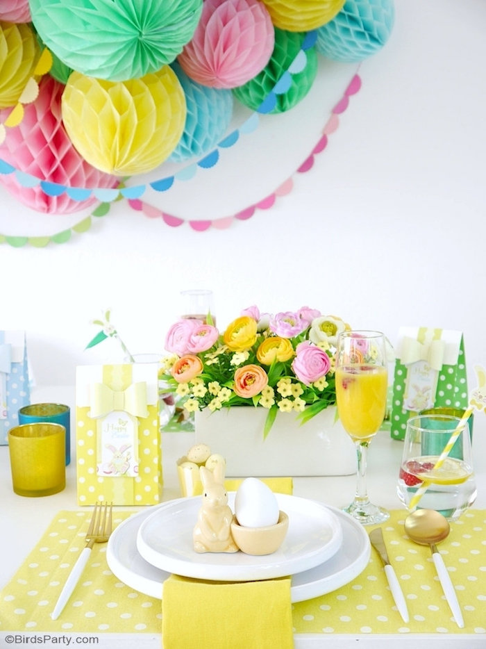 Yellow Easter Brunch Table Setting from a Colorful Spring Easter Brunch on Kara's Party Ideas | KarasPartyIdeas.com (9)