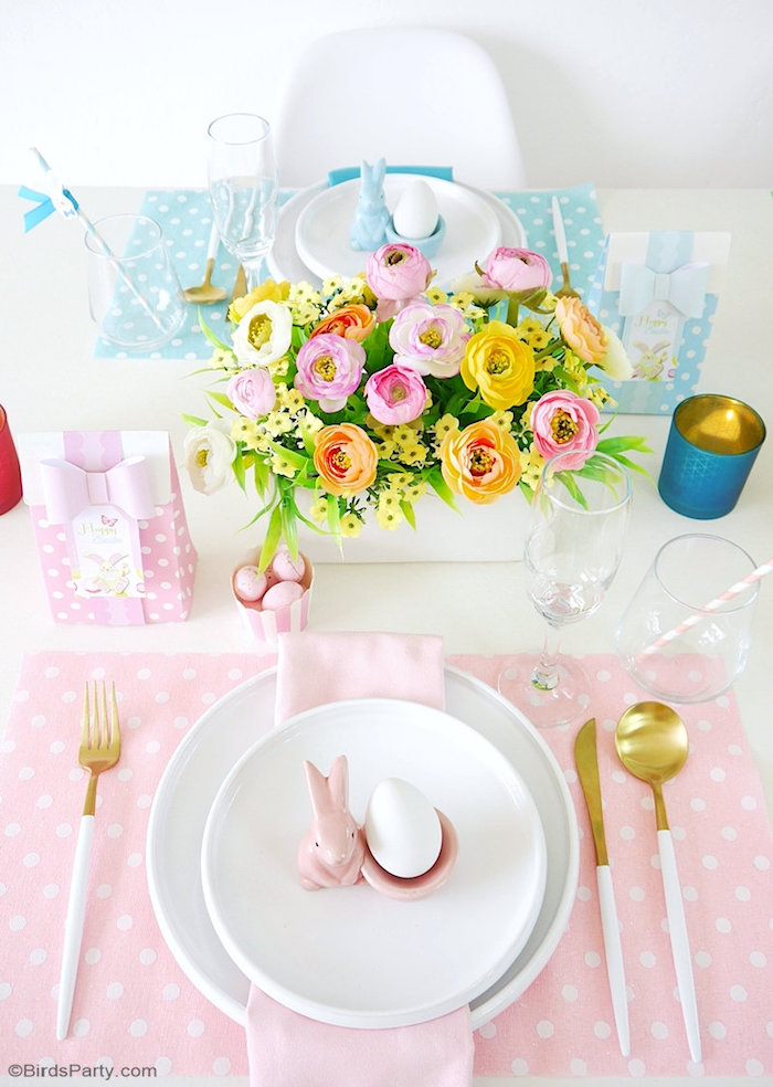 Pink Polka Dot Easter Brunch Table Setting from a Colorful Spring Easter Brunch on Kara's Party Ideas | KarasPartyIdeas.com (8)