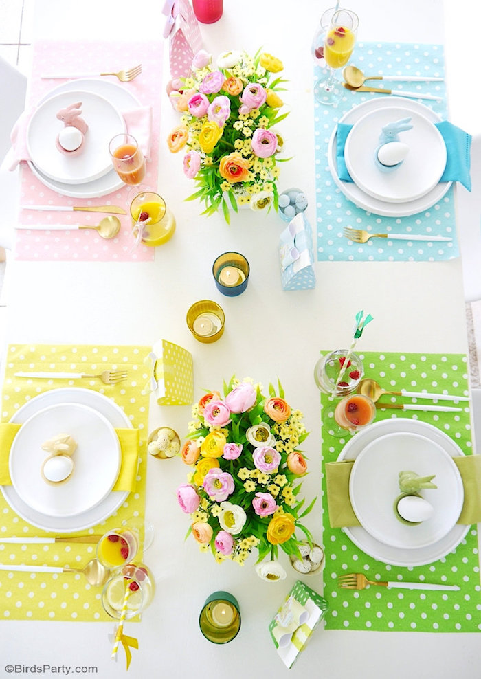 Easter Brunch Table Settings from a Colorful Spring Easter Brunch on Kara's Party Ideas | KarasPartyIdeas.com (6)