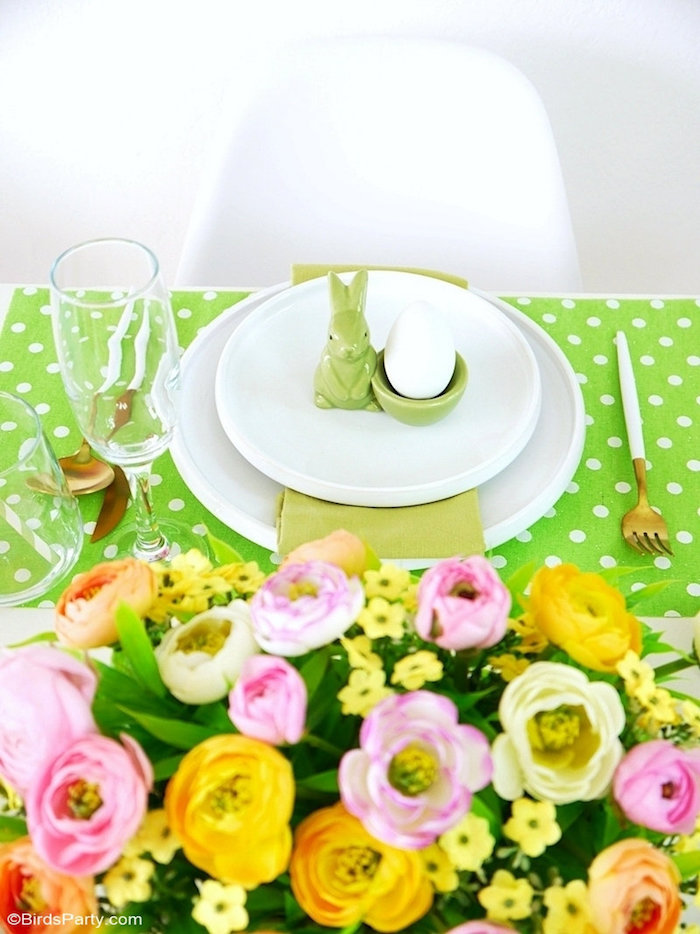 Green Polka Dot Easter Brunch Table Setting from a Colorful Spring Easter Brunch on Kara's Party Ideas | KarasPartyIdeas.com (14)