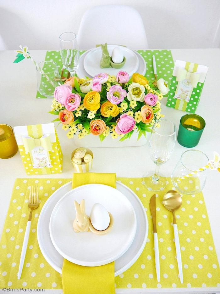 Pastel Polka Dot Easter Brunch Table Settings from a Colorful Spring Easter Brunch on Kara's Party Ideas | KarasPartyIdeas.com (12)