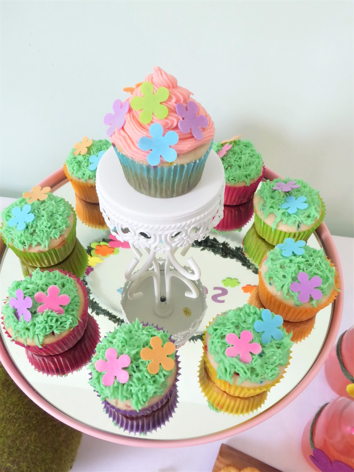Trolls Themed Cupcakes from a Trolls Themed Spa Party for Girls on Kara's Party Ideas | KarasPartyIdeas.com