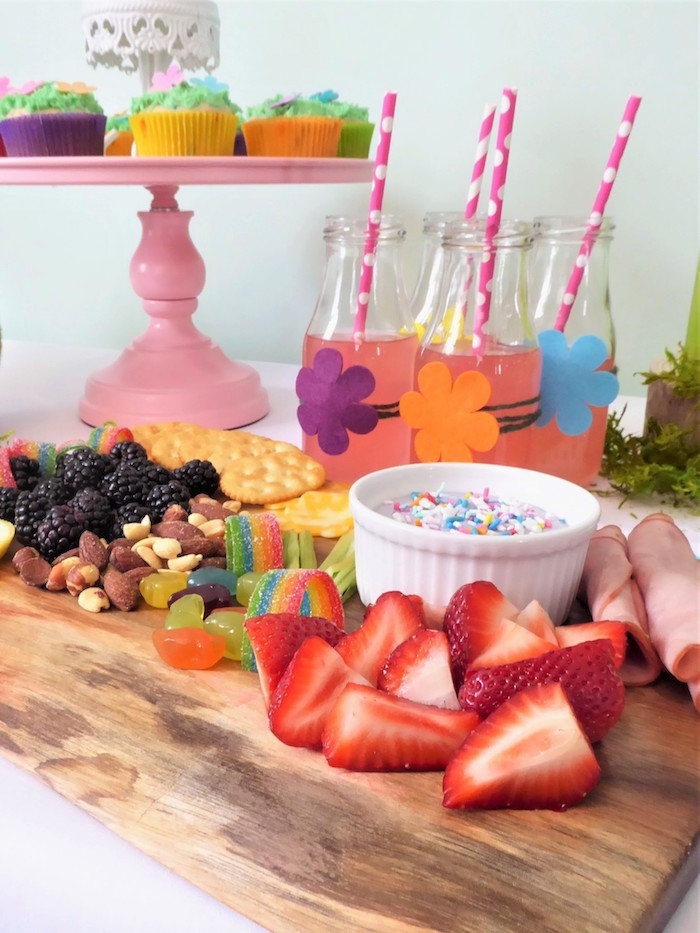 Trolls Themed Dessert Table from a Trolls Themed Spa Party for Girls on Kara's Party Ideas | KarasPartyIdeas.com
