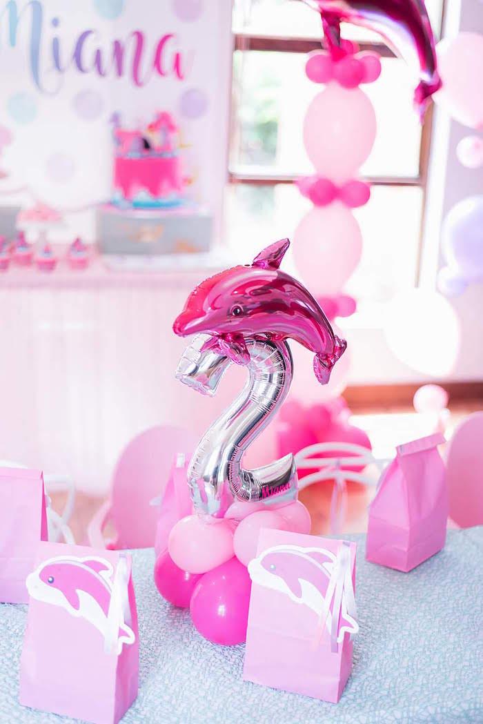 Dolphin Party Table + Balloon Centerpiece + Favor Sacks from a Dolphin Birthday Party on Kara's Party Ideas   KarasPartyIdeas.com (17)