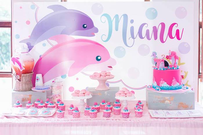 Dolphin Themed Dessert Table from a Dolphin Birthday Party on Kara's Party Ideas | KarasPartyIdeas.com (16)