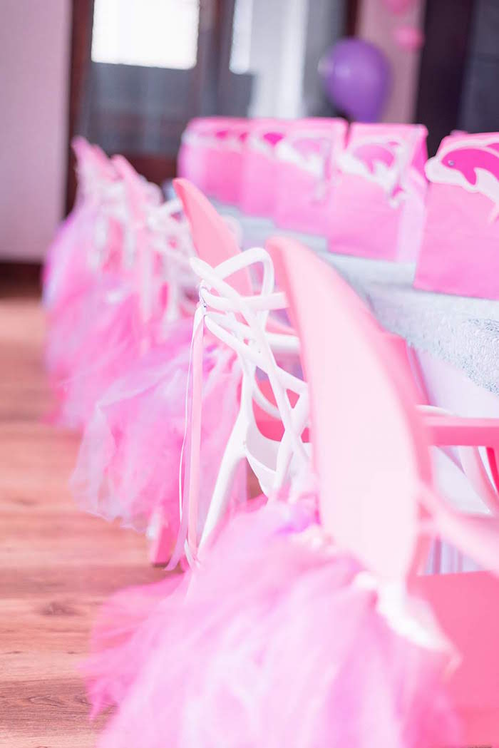 Pink Party Chairs from a Dolphin Birthday Party on Kara's Party Ideas | KarasPartyIdeas.com (15)