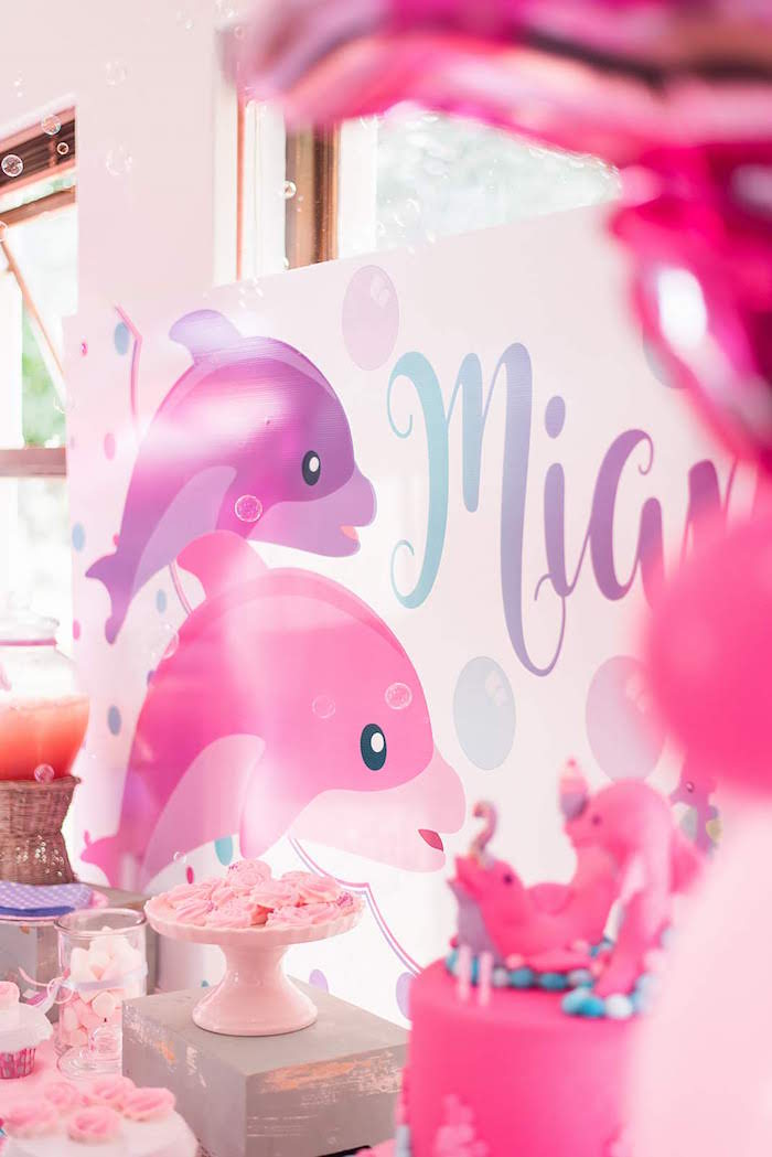 Purple + Pink Dolphin Dessert Table Backdrop from a Dolphin Birthday Party on Kara's Party Ideas | KarasPartyIdeas.com (13)