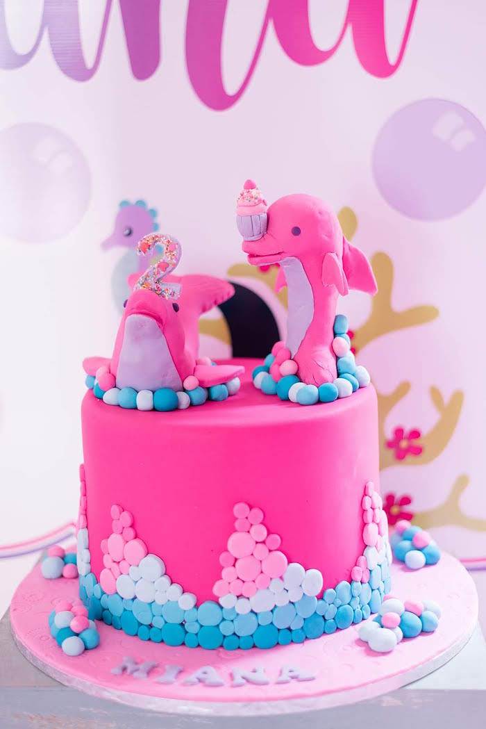 Pink Dolphin Cake from a Dolphin Birthday Party on Kara's Party Ideas | KarasPartyIdeas.com (27)