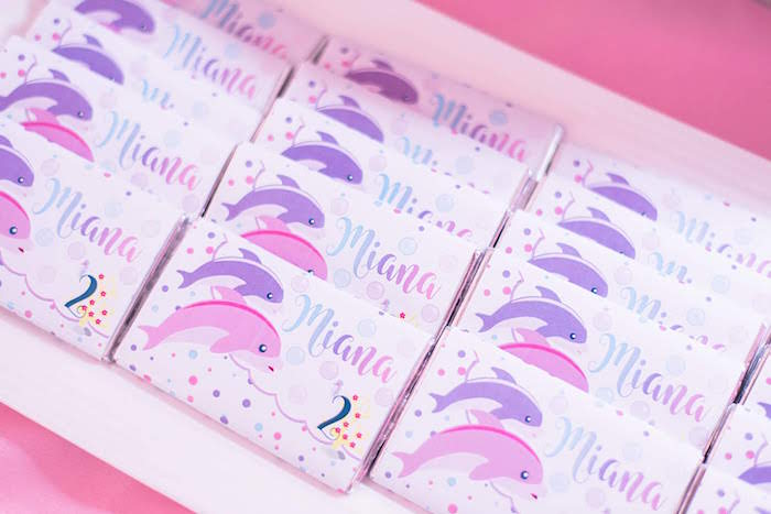 Dolphin-labeled Candy Bars from a Dolphin Birthday Party on Kara's Party Ideas | KarasPartyIdeas.com (26)