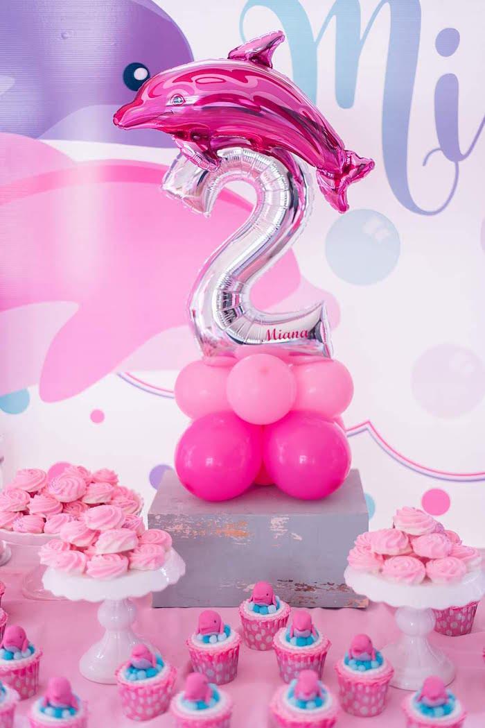 Dolphin Balloon Centerpiece from a Dolphin Birthday Party on Kara's Party Ideas   KarasPartyIdeas.com (24)
