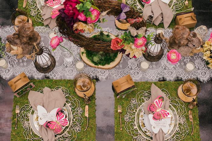 Enchanted Garden Guest Table from a Dreamy Enchanted Woodland Party on Kara's Party Ideas | KarasPartyIdeas.com (15)