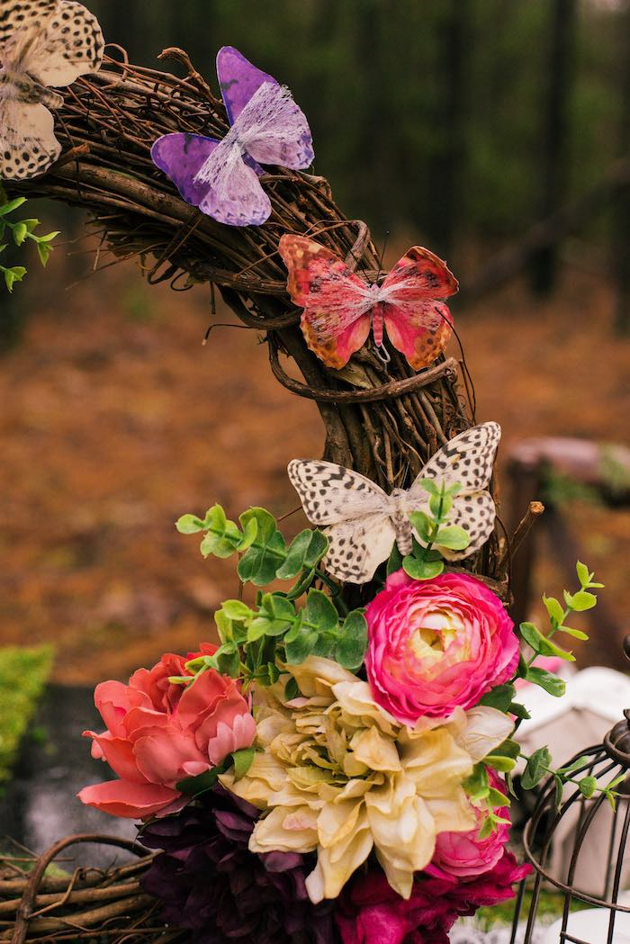 Butterfly and Bloom-adorned Wreath from a Dreamy Enchanted Woodland Party on Kara's Party Ideas | KarasPartyIdeas.com (14)