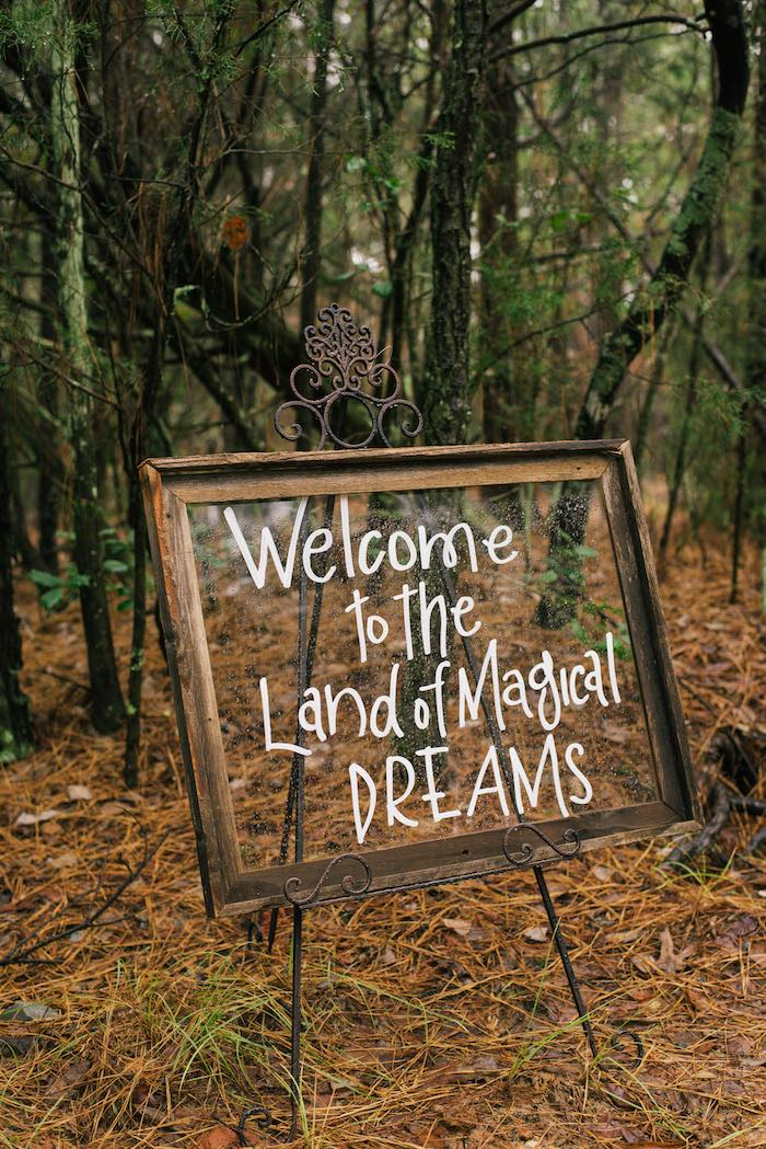 Wood-framed Glass Welcome Sign from a Dreamy Enchanted Woodland Party on Kara's Party Ideas | KarasPartyIdeas.com (11)