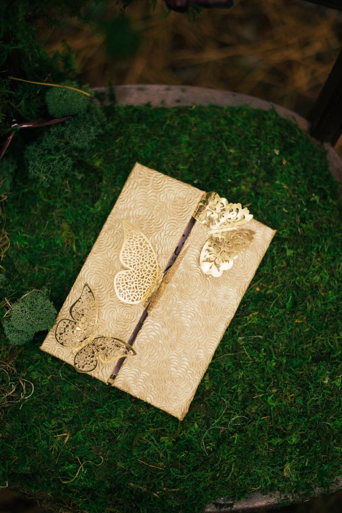Gold Butterfly Invite from a Dreamy Enchanted Woodland Party on Kara's Party Ideas | KarasPartyIdeas.com (9)