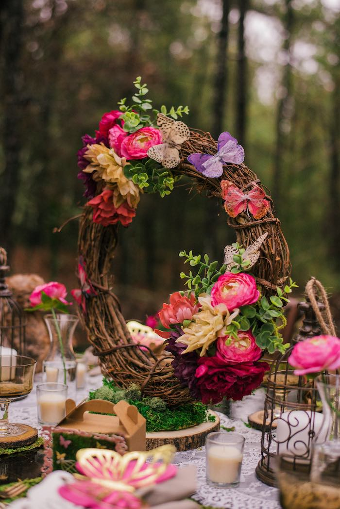 Grapevine Floral Woodland Wreath from a Dreamy Enchanted Woodland Party on Kara's Party Ideas | KarasPartyIdeas.com (18)