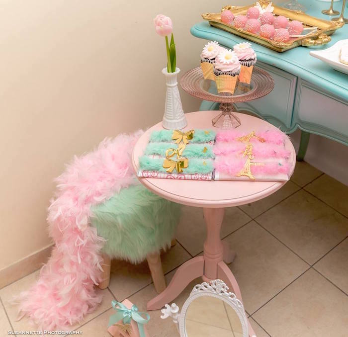 Boa Feather-seated Sweet Table from a Fancy Nancy Birthday Party on Kara's Party Ideas | KarasPartyIdeas.com (25)