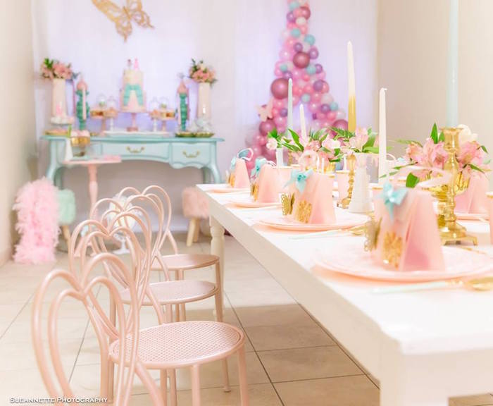 Fancy Nancy Guest Tables lined with Pink Heart Chairs from a Fancy Nancy Birthday Party on Kara's Party Ideas | KarasPartyIdeas.com (20)
