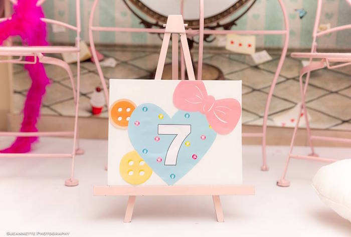 """7"" Heart, Bow and Button Sign from a Fancy Nancy Birthday Party on Kara's Party Ideas 