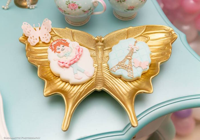 Fancy Nancy Cookies in a Gold Butterfly Dish from a Fancy Nancy Birthday Party on Kara's Party Ideas | KarasPartyIdeas.com (17)