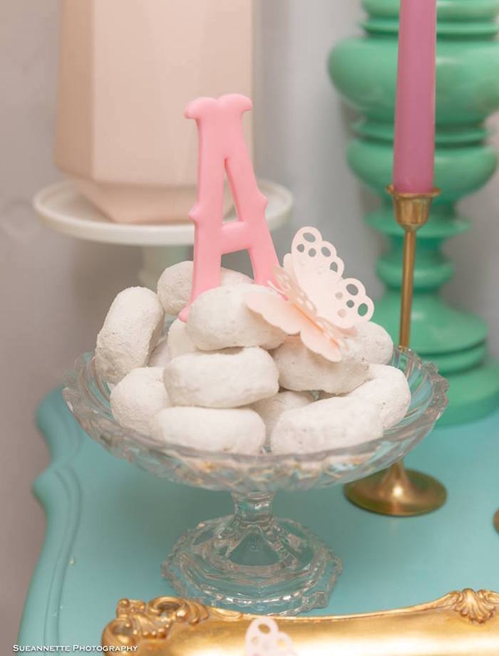 Powdered Donuts topped with a Custom Letter from a Fancy Nancy Birthday Party on Kara's Party Ideas | KarasPartyIdeas.com (35)