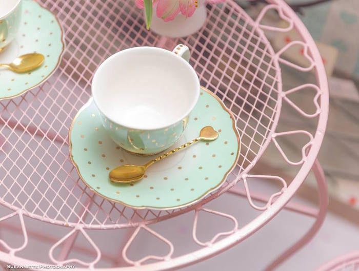 Gold + Teal Polka Dot Tea Cup + Saucer with Gold Heart Spoon from a Fancy Nancy Birthday Party on Kara's Party Ideas | KarasPartyIdeas.com (13)