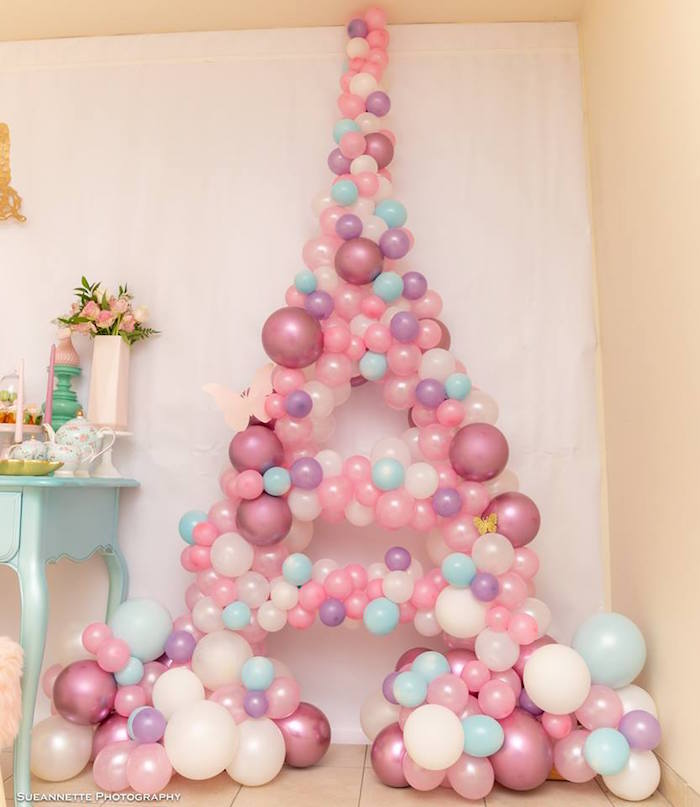 Balloon Eiffel Tower from a Fancy Nancy Birthday Party on Kara's Party Ideas | KarasPartyIdeas.com (12)