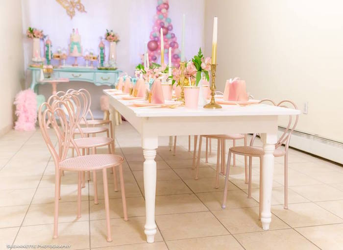 Elegant Pink + White Dining Table from a Fancy Nancy Birthday Party on Kara's Party Ideas | KarasPartyIdeas.com (5)