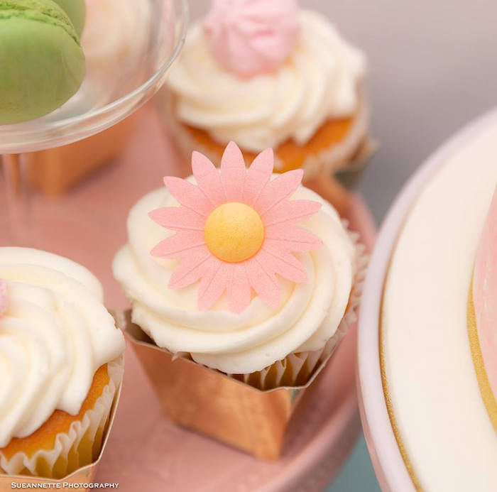 Pink Daisy-topped Cupcake from a Fancy Nancy Birthday Party on Kara's Party Ideas | KarasPartyIdeas.com (33)