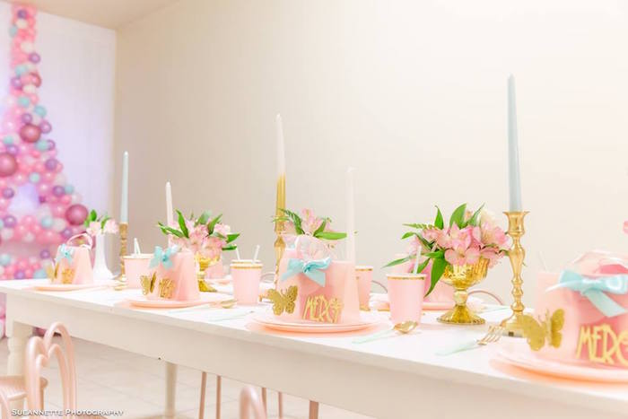 Elegant Pink + Gold Kid Dining Table from a Fancy Nancy Birthday Party on Kara's Party Ideas | KarasPartyIdeas.com (30)