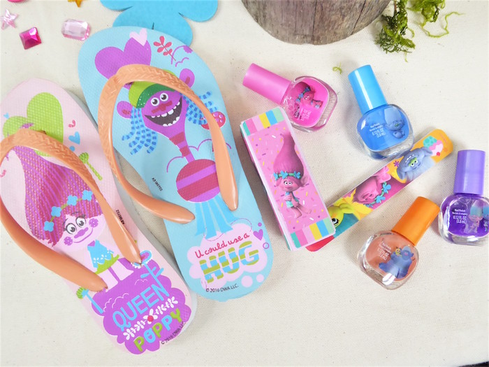 Trolls Flip flops from a Trolls Themed Spa Party for Girls on Kara's Party Ideas | KarasPartyIdeas.com