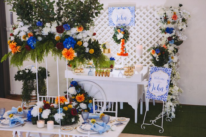 Floral Christening Party Tables on Kara's Party Ideas | KarasPartyIdeas.com (20)