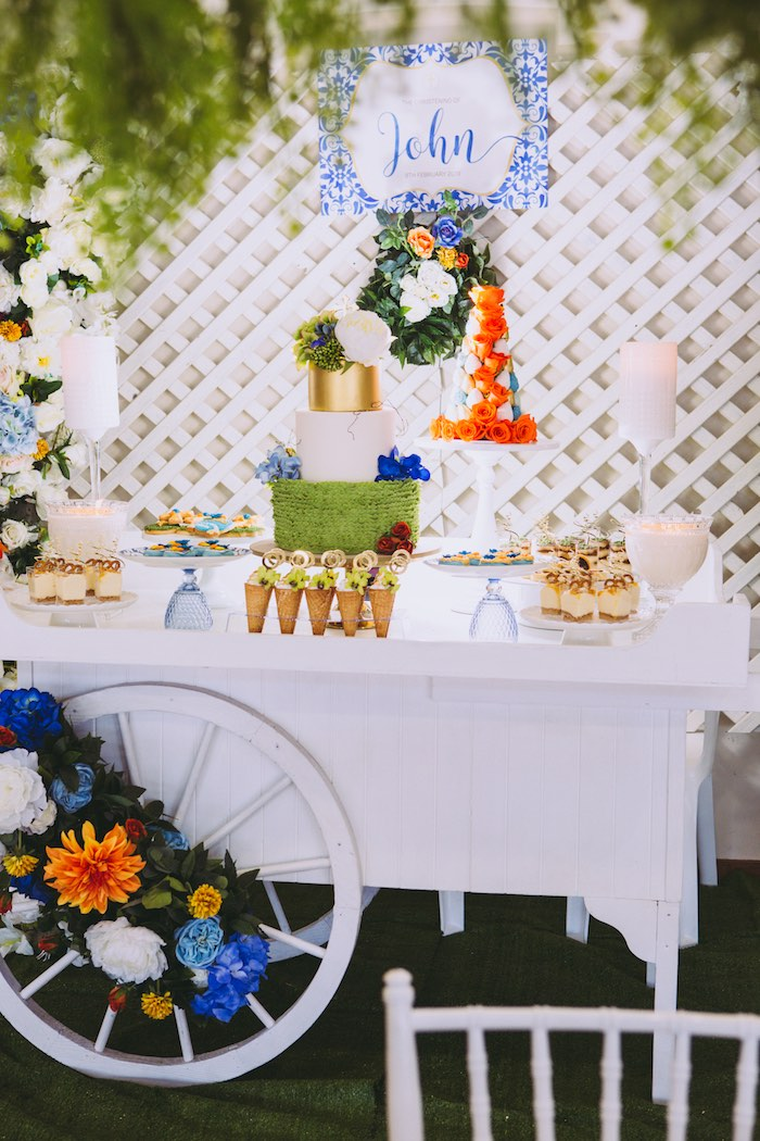 Christening Dessert Table from a Floral Christening Party on Kara's Party Ideas | KarasPartyIdeas.com (19)
