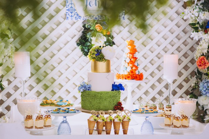 Garden Dessert Table from a Floral Christening Party on Kara's Party Ideas | KarasPartyIdeas.com (18)