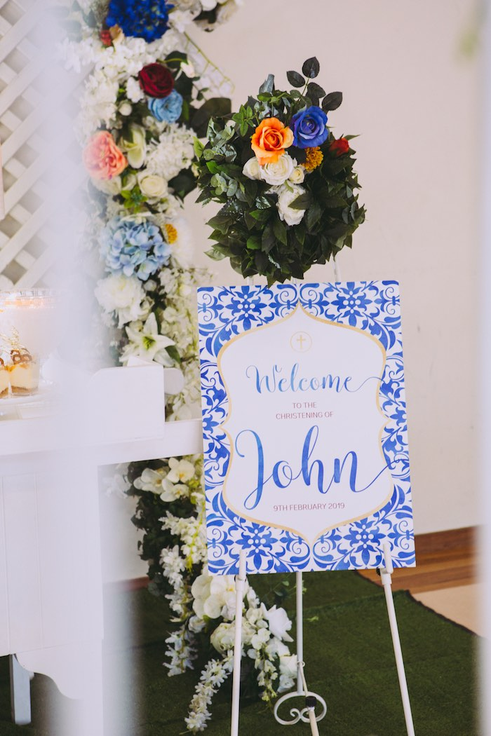 Blue Floral Welcome Sign from a Floral Christening Party on Kara's Party Ideas | KarasPartyIdeas.com (17)