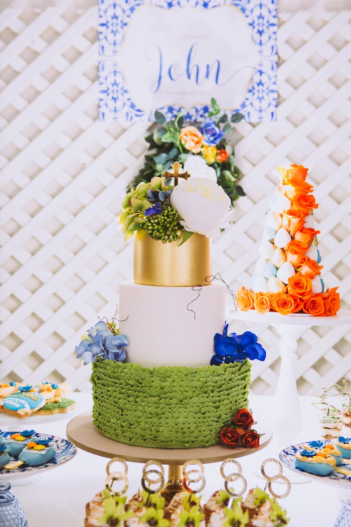 Gorgeous Garden Cake from a Floral Christening Party on Kara's Party Ideas | KarasPartyIdeas.com (16)