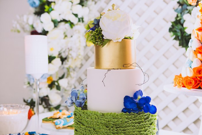 Gorgeous Garden Cake from a Floral Christening Party on Kara's Party Ideas | KarasPartyIdeas.com (15)