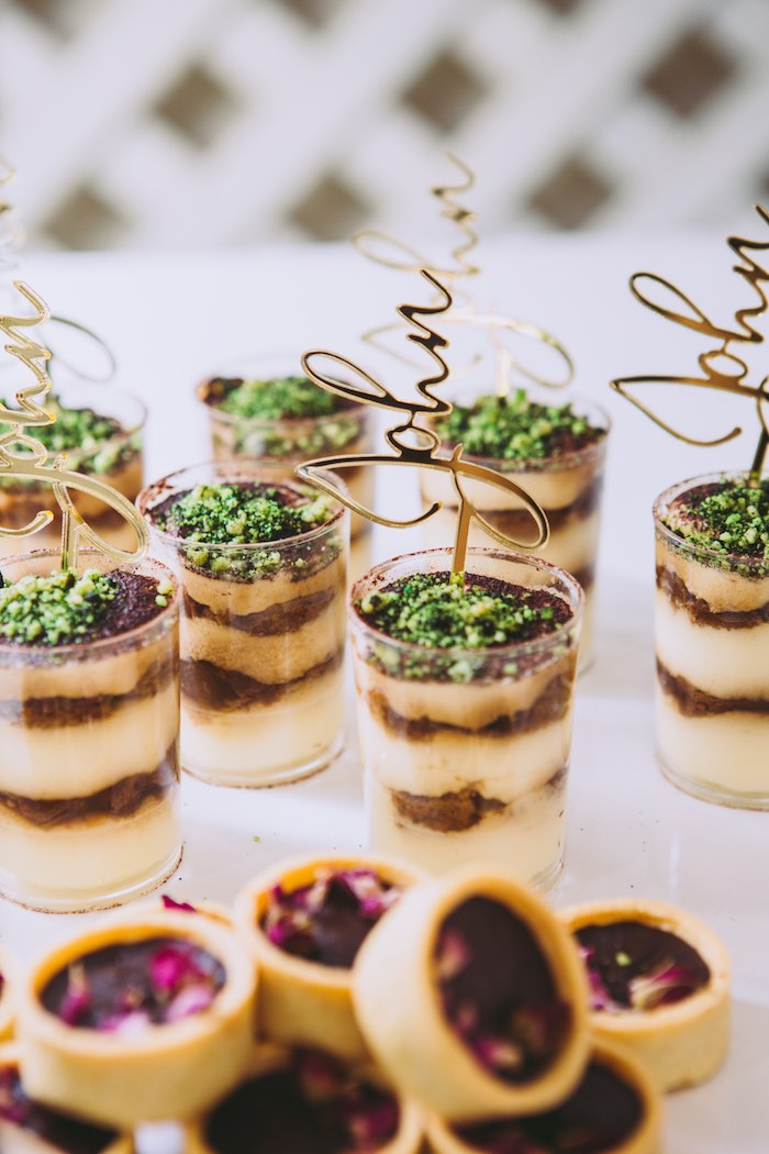 Layered Dessert Cups with Custom Scripted Name Toppers from a Floral Christening Party on Kara's Party Ideas | KarasPartyIdeas.com (12)
