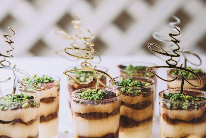 Layered Dessert Cups with Custom Scripted Name Toppers from a Floral Christening Party on Kara's Party Ideas | KarasPartyIdeas.com (11)