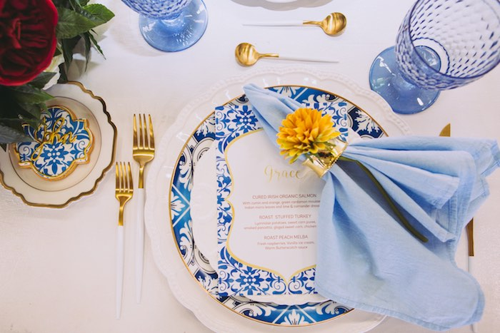 Elegant Blue + Gold Table Setting from a Floral Christening Party on Kara's Party Ideas | KarasPartyIdeas.com (29)