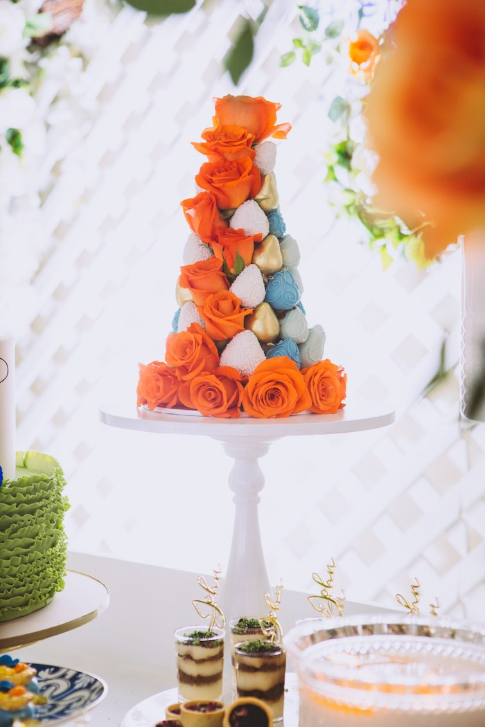 Orange Rose Chocolate Covered Strawberry Tower from a Floral Christening Party on Kara's Party Ideas | KarasPartyIdeas.com (9)