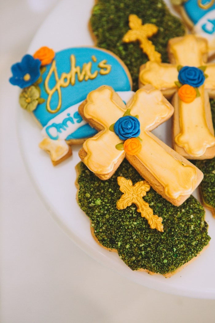 Christening Cookies from a Floral Christening Party on Kara's Party Ideas | KarasPartyIdeas.com (8)