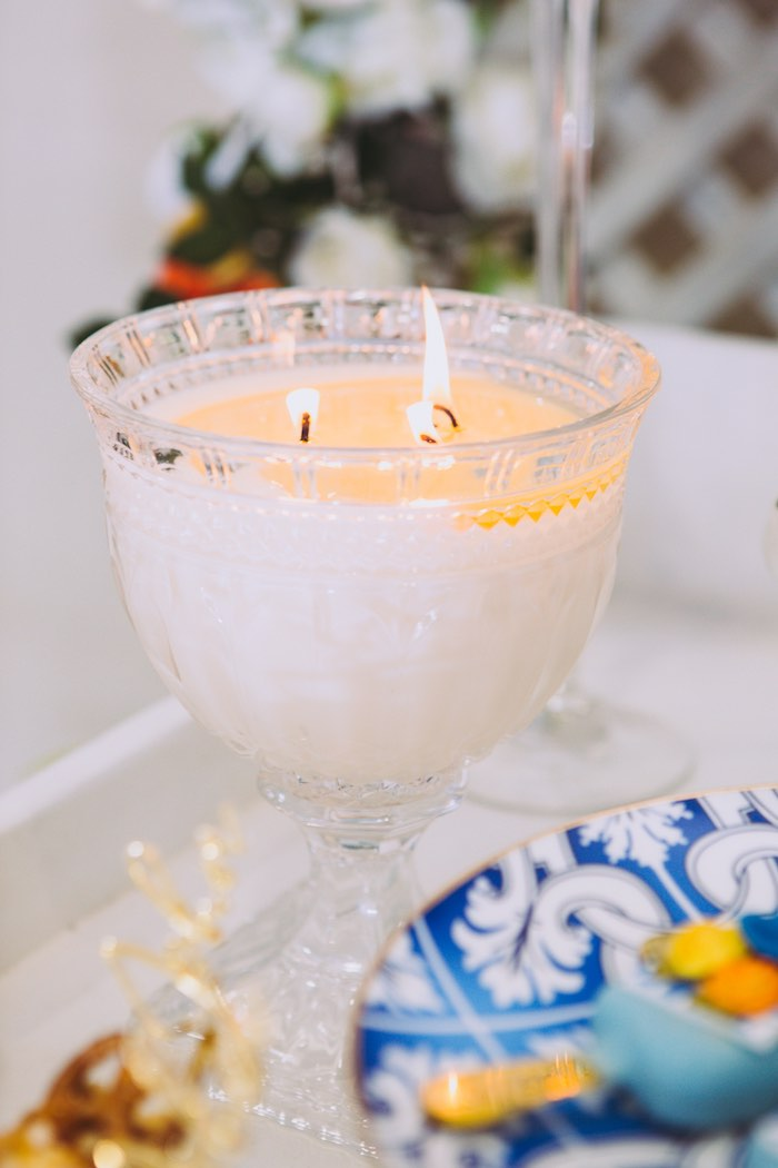 Burning White Candle from a Floral Christening Party on Kara's Party Ideas | KarasPartyIdeas.com (7)