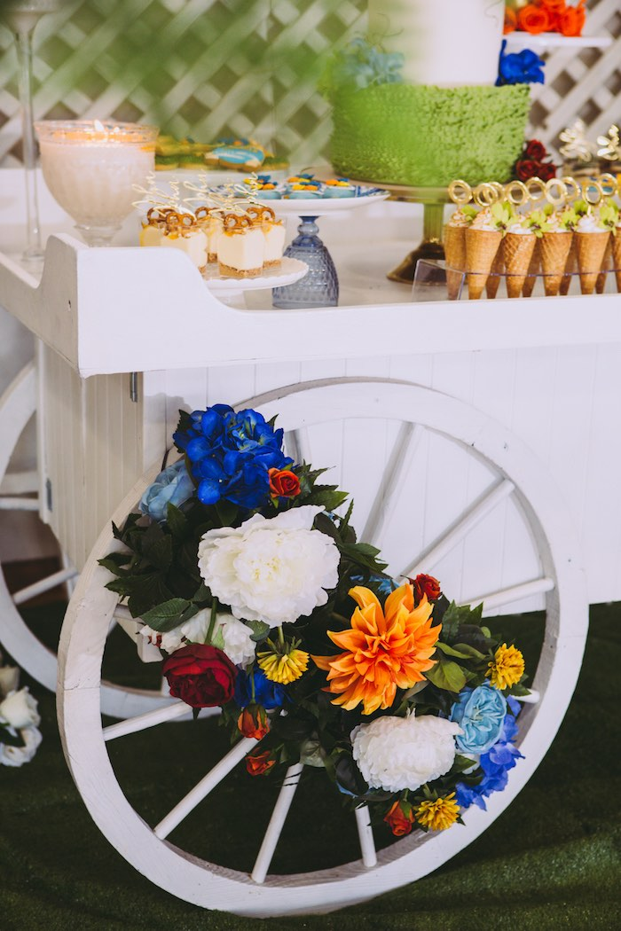 Flower Wheel from a Floral Christening Party on Kara's Party Ideas | KarasPartyIdeas.com (6)